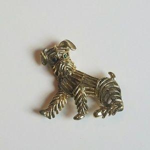 Vintage Shaggy Scotty Dog Openwork Metal Brooch